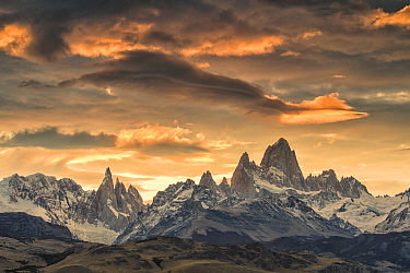 Fitz Roy Massif and Cerro Torre in Los Glaciares National Park, at sunset, Argentina.