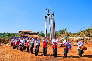 The Kay Htein Bo or spirit poles are found in most Kayan villages.These sacred poles are worshipped once a year, in April. Only men are allowed to enter this sacred place to play music and dance. Unde...