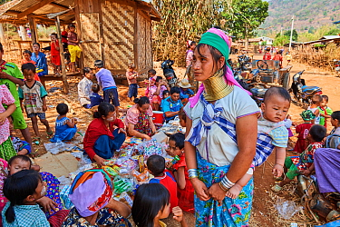 Kayan Lahwi women at the Kay Htein Bo village celebration. The Long Neck Kayan (also called Padaung in Burmese) are a sub-group of the Karen ethnic people from Burma. They wear spiral coils around the...