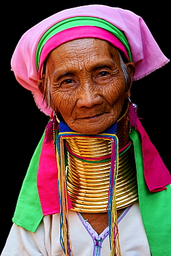 Head portrait of a Kayan Lahwi woman with brass neck coils and traditional clothing. The Long Neck Kayan (also called Padaung in Burmese) are a sub-group of the Karen ethnic people from Burma. They we...