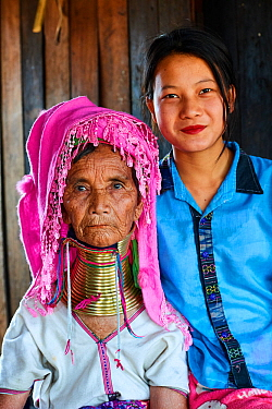 Portrait of an old Kayan Lahwi woman with brass neck coils and traditional clothing with her grand daughter, who does not wear the rings. The Long Neck Kayan (also called Padaung in Burmese) are a sub...