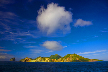 Yankicho Island, a small uninhabited volcanic island in the Kuril Island chain. Sea of Okhotsk, Russia.