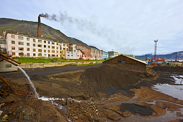 Coal ash from a coal-fired power plant,d used as aggregate on roadways in the town of Provideniya, Russia.
