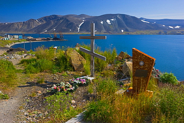 Cemetery / burial ground in Provideniya, Chukotka, Russia. August 2009.