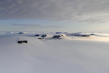 Snowy landscape Franz Jozef Land, Arctic Russia. July 2019.