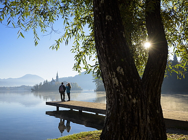 Visitors to Lake Bled, Slovenia, October 2017.