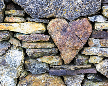 RF - Heart-shaped stone in a wall, Rodel, Harris, Scotland (This image may be licensed either as rights managed or royalty free.)