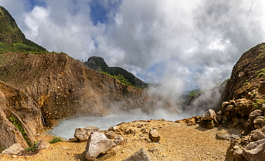 Steam and gases rising from Boiling Lake, a water filled fumarole on active volcano. Morne Trois Pitons National Park, Dominica, Lesser Antilles. 2020.