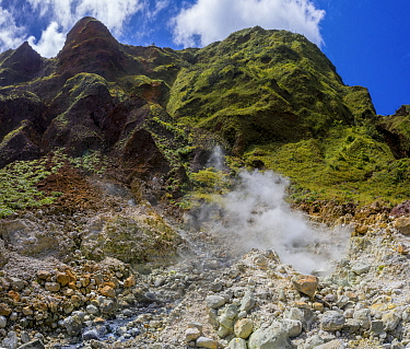 Streams through rocks on side of active volcano, with steam and sulphur fumes. Valley of Desolation, Morne Trois Pitons National Park, Dominica, Lesser Antilles. 2020.