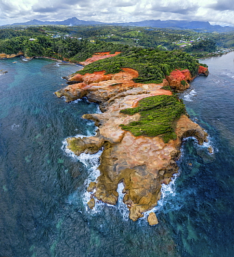 Red Rock coastline and rainforest with mountains in distance, aerial view. Dominica, Lesser Antilles. 2020.