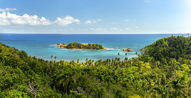 View across rainforest to sea, rock island protects coral reefs from full force of Atlantic. Bay View near Calibishie, Dominica, Lesser Antilles. 2020.