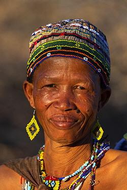 Woman of the San bushmen tribe, portrait. Makgadikgadi Pans National Park, Botswana. 2019.
