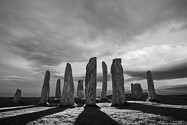 Callanish Stone Circle, standing stones casting long shadows. Isle of Lewis, Outer Hebrides, Scotland, UK. May 2010.