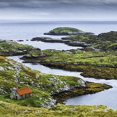 Derelict coastal croft. Manais, Isle of Harris, Outer Hebrides, Scotland, UK. October 2013.