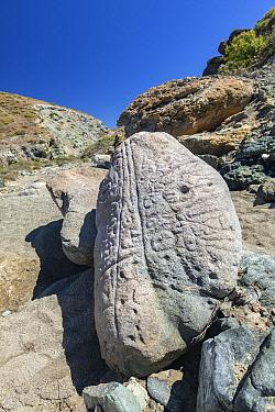 Mysterious engraved stones (Piedra engravada), Isla santa margarita, Eastern Pacific Ocean, Bahia Magdalena, Baja California, Mexico