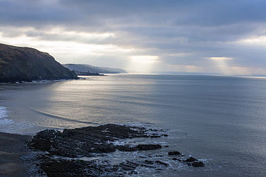 View from coastal footpath approaching Aberystwyth from the north, with moody sky, Wales, UK, December 2019.