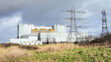 Oldbury nuclear power station, now disused, on the shores of Severn Estuary, at Oldbury-on-Severn, near Bristol, March 2020.