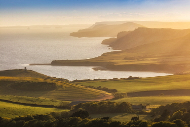 Kimmeridge Bay and the Jurassic Coast from Swyre Head, Isle of Purbeck, Dorset, England, UK, May 2020.