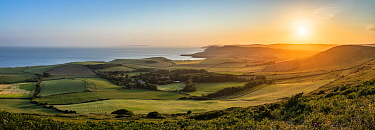 View from Heaven's Gate on Swyre Head towards Kimmeridge Bay, Isle of Purbeck, Jurassic Coast, Dorset, England, UK, June 2020.