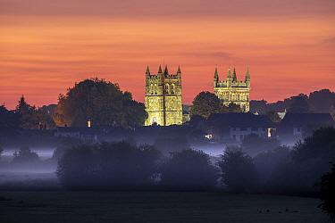 Wimborne Minster at sunrise, Dorset, England, UK, June 2020.