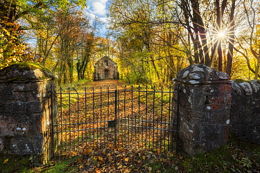 Chapel in autumn, Perthshire, Scotland, October 2019.