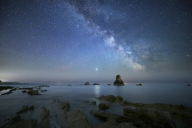 Mupe Bay at night with Milky Way, Isle of Purbeck, Jurassic Coast World Heritage Site, Dorset, England, UK, May