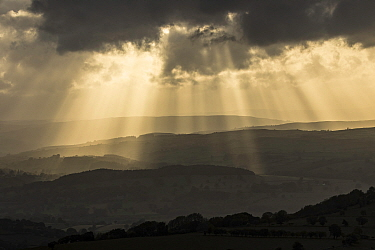 Crepuscular rays over the Usk Valley from the Black Mountains, Brecon Beacons National Park, Powys, Wales, UK, June.