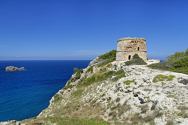 Torre D'Aubarca medieval watchtower on coastal cliff top, Llevant Peninsula Natural Park, near Arta, Mallorca east coast, May 2019.
