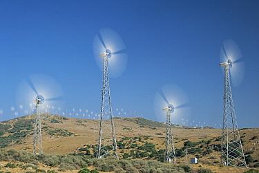 Wind turbines on hillside, Spain