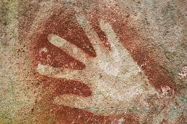 Aboriginal rock art showing hand, Queensland, Australia