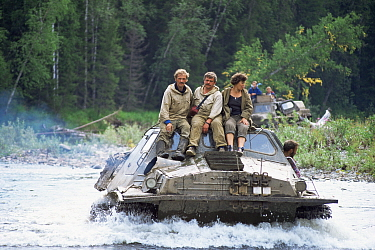 Amphibious vehicle in river, Ural mountains, Siberia, Russia