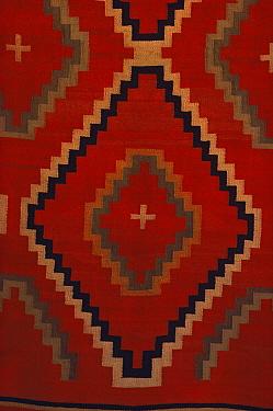 Navajo weaving detail close up, at Amerino Foundation, Arizona, USA