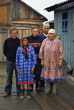Idigenous Mansi villagers in traditional dress, near Ural Mountains, Siberia, Russia
