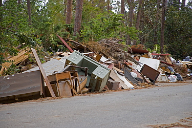Damaged belongings cleared from homes near Slidell, on the shore of Lake Pontchartrain, Louisiana, USA, following extensive damage from flooding caused by Hurricane Katrina, August 2005.