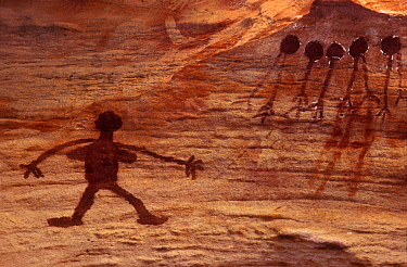 Aboriginal rock art, Woman sorcery figure and yams, Australia