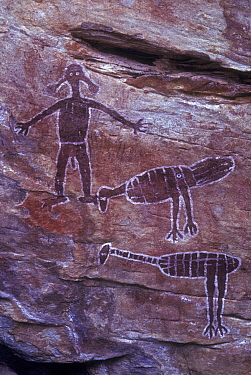 Aboriginal rock art, Emu, Brush turkey and Spirit Figures, Australia