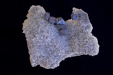 Galena (PbS, lead sulfide), the primary ore of lead, on Quartz (SiO2), the most common mineral in the Earth's crust. Sample from Madan, Bulgaria.