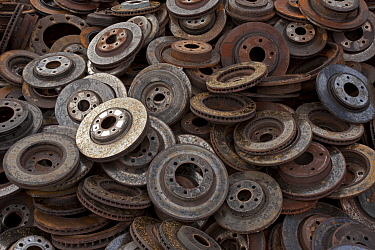Close up of large pile of old disc brakes, Recycling Center, Ithaca, New York, USA, property released.