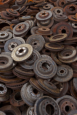 Large pile of old brake parts, Recycling center, Ithaca, New York, USA.