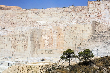 Marble quarry, two trees in foreground. Near Alicante, Spain. July 2016.