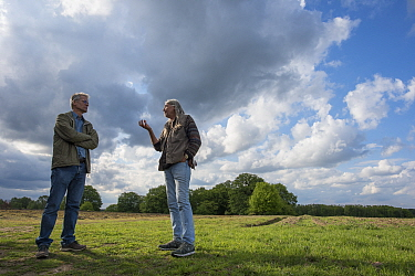 Biologists from Radboud University and Entomological Society Krefeld in discussion at field site. Long-term monitoring has revealed a 75% decline in insect biomass over 27 years. Germany, May 2019.
