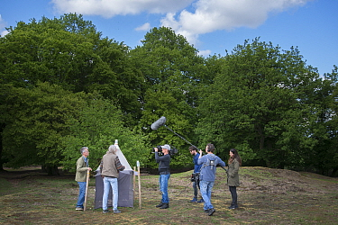 Film crew interviewing biologists following publication of research showing a 75% decline in insect biomass over 27 years. Research a collaboration between the Krefeld Entomological Society and Radbou...