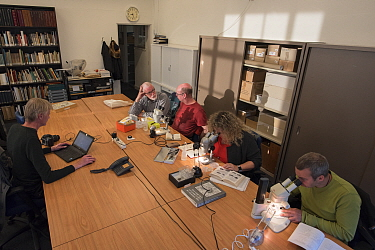 Entomologists from the KNNV association of field biologists identifying insects with aid of microscopes and identification guides. Nature Museum Brabant, Tilburg, The Netherlands. 2018.