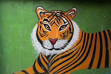 Naive painting of a Tiger (Panthera tigris), India.