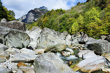 Landscape of the Verzasca River, Switzerland, October.