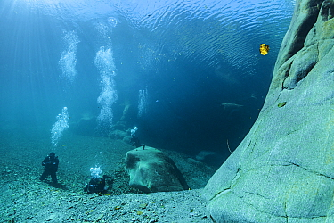 Divers in underwater landscape in Verzasca River, Ticino, Switzerland, September