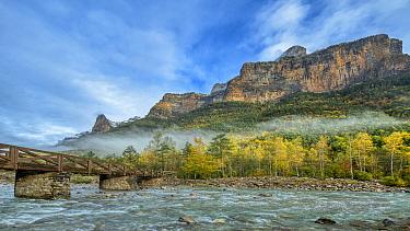 Pico de Mondarruego and Arazas River Valle de Ordesa ,Ordesa National Park, Spain, October.