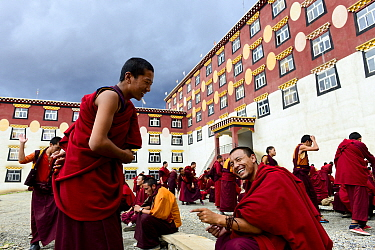 Buddhist monks participating in dialectical debates outside building of Palpung Monastery. Kham, Dege County, Garze Tibetan Autonomous Prefecture, Sichuan, China. 2016.