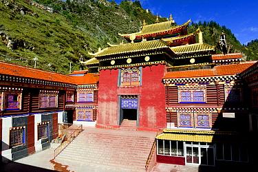 Palpung Monastery building below hills, Kham, Dege County, Garze Tibetan Autonomous Prefecture, Sichuan, China. 2016.