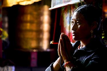 Tibetan Buddhist pilgrim praying, portrait. Ganden Thubchen Choekhorling Monastery, Litang, Garze Tibetan Autonomous Prefecture, Sichuan, China. 2016.